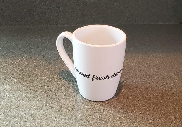 served fresh daily 12 oz coffee mug