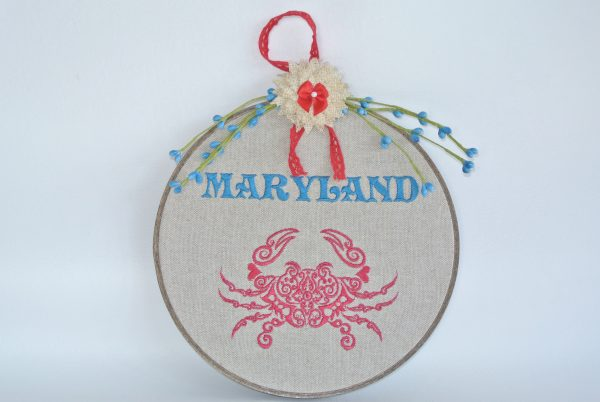 """Embroidered """"Maryland"""" Hoop Decoration - 8"""""""