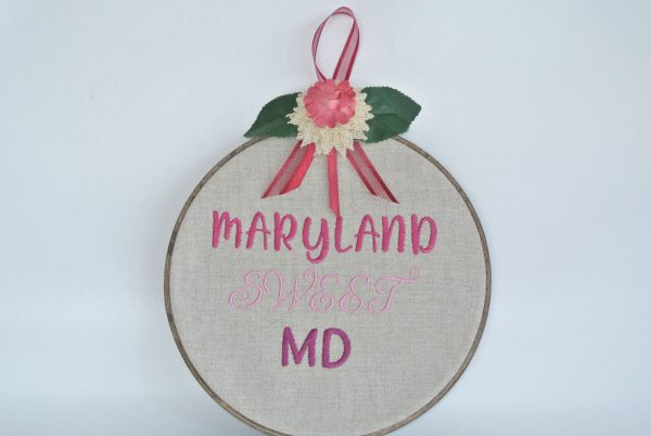 """Embroidered """"Maryland Sweet MD"""" Hoop Decoration - 8"""" - Variant 2"""