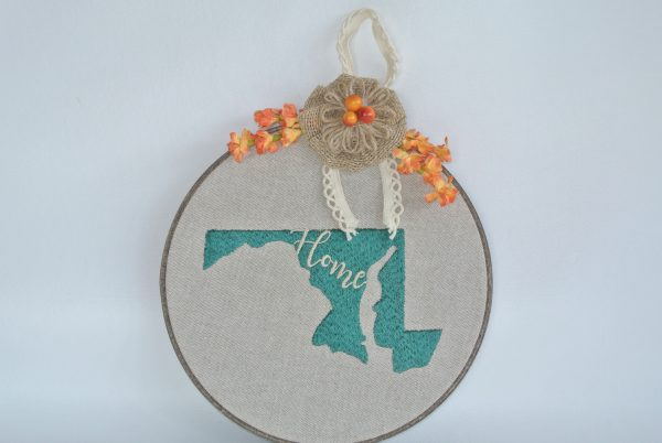 """Embroidered """"Home"""" with Maryland Silhouette Hoop Decoration - 8"""""""
