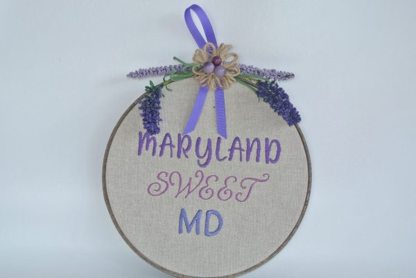 """Embroidered """"Maryland Sweet MD"""" Hoop Decoration - 8"""" - Variant 1"""
