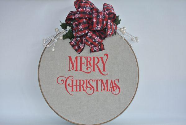 """Merry Christmas"" Hoop Decoration - 16"" - Variant 3"