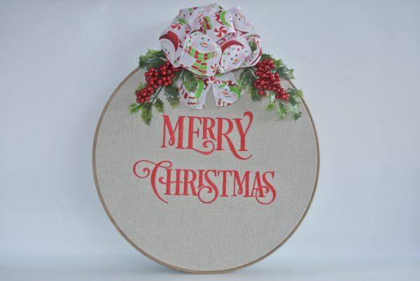 """Merry Christmas"" Hoop Decoration - 16"" - Variant 2"