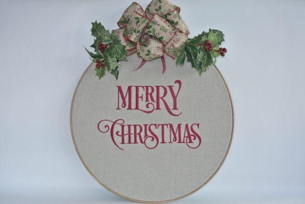 """Merry Christmas"" Hoop Decoration - 16"" - Variant 1"