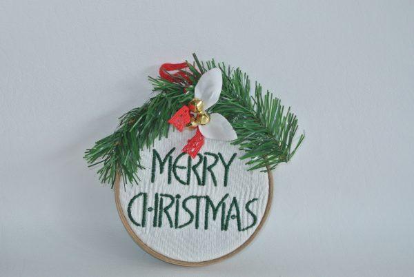 """Merry Christmas"" Hoop Ornament - 4"" - Variant 4"