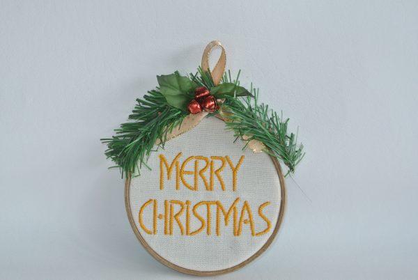 """Merry Christmas"" Hoop Ornament - 4"" - Variant 3"