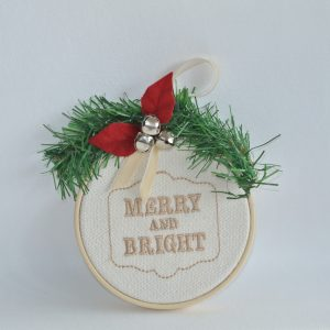 """Merry and Bright"" Hoop Ornament - 4"""