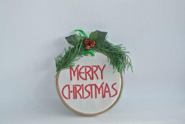 """Merry Christmas"" Hoop Ornament - 4"" - Variant 2"