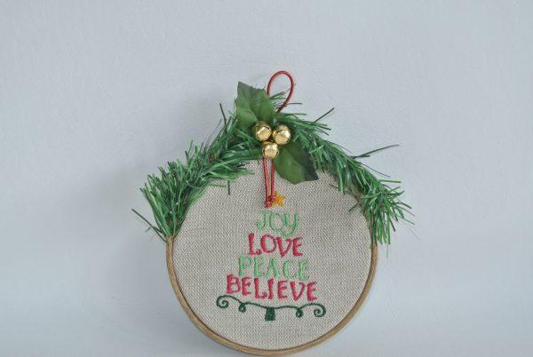 """4"""" """"Joy Love Peace Believe"""" Hoop Ornament - Variant 2"""