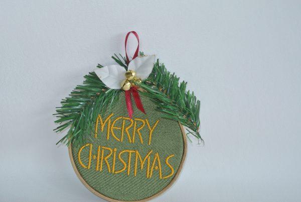 """Merry Christmas"" Hoop Ornament - 4"" - Variant 1"