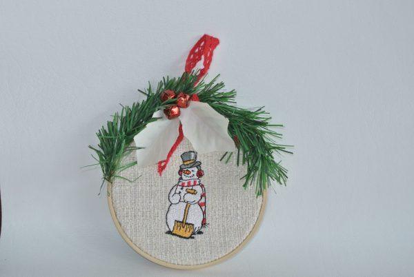 "Snowman Hoop Ornament - 4"""