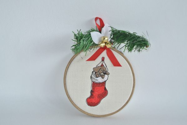 """Puppy in Christmas Stocking Hoop Ornament - 4"""""""