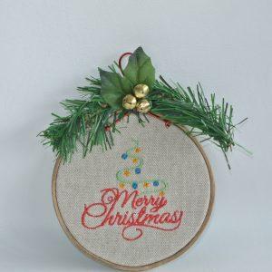 """Merry Christmas"" Hoop Ornament - 4"" - Variant 6"