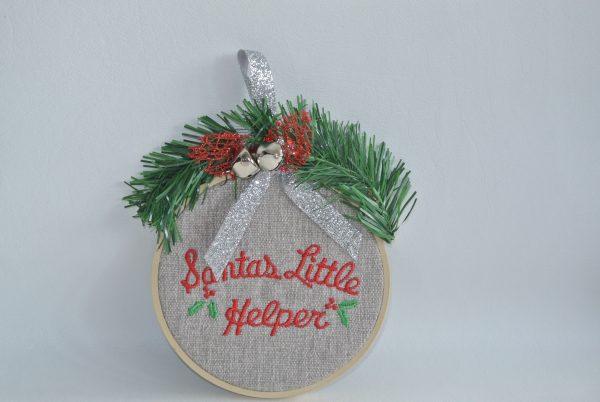 """Santa's Little Helper"" Hoop Ornament - 4"""