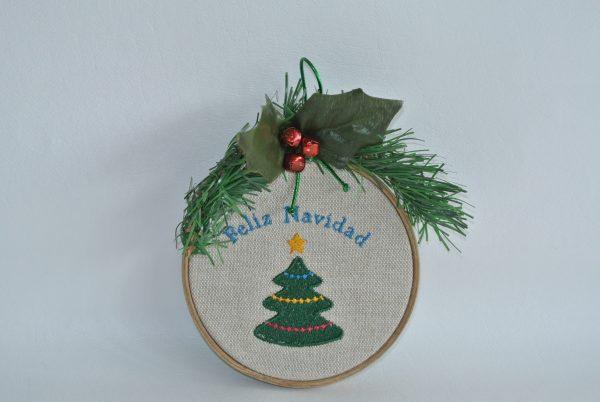 """Feliz Navidad"" Hoop Ornament - 4"""