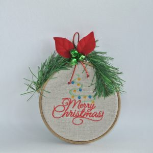 """Merry Christmas"" Hoop Ornament - 4"" - Variant 5"