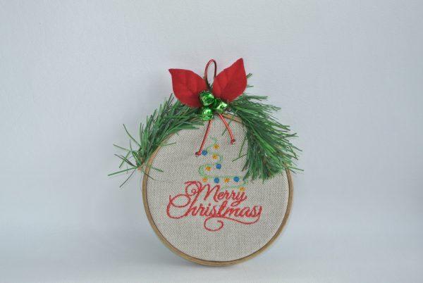 """Merry Christmas"" Hoop Ornament - 4"" - Variant 5"