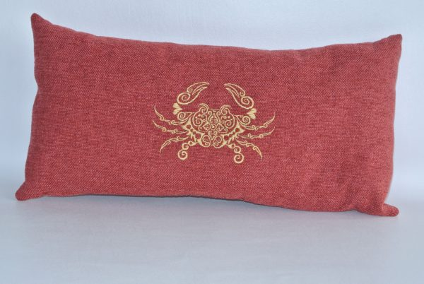 Red pillow with Gold Embroidered Crab