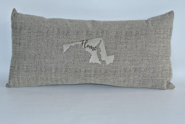 """Light Brown Embroidered """"Home"""" Pillow with Maryland State Silhouette"""
