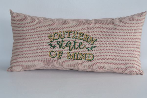 """Embroidered """"Southern State of Mind"""" Pillow"""