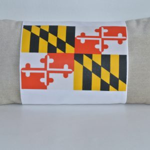 Beige Pillow with White MD Flag Band - Version 2