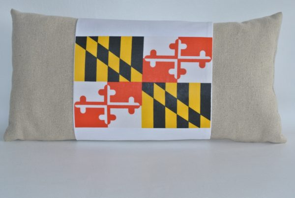 Beige Pillow with White MD Flag Band - Version 1