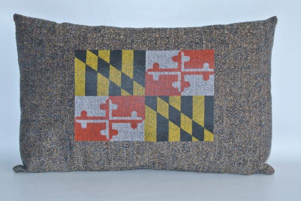 Brown Pillow with Maryland Flag Appliqué