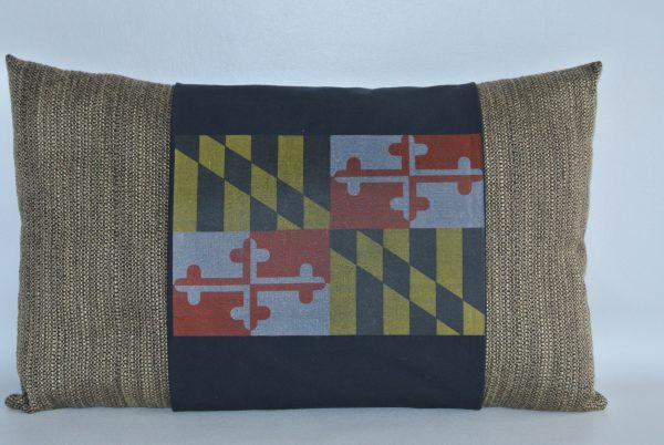 Brown Pillow with Black MD Flag Band - Version 1