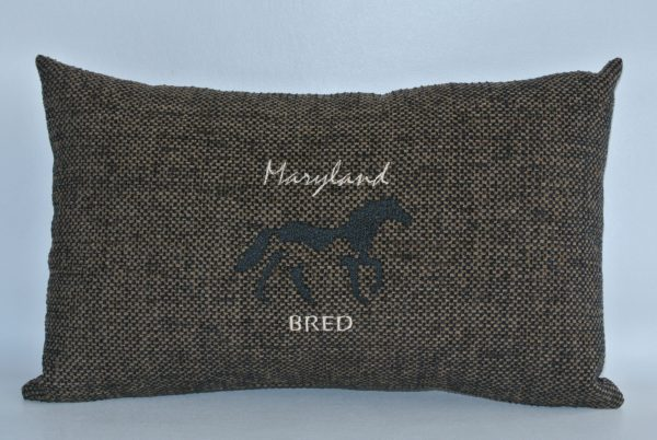 """Dark Brown Embroidered """"Maryland Bred"""" Horse Pillow"""