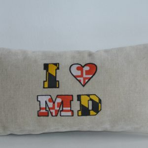 "Beige Pillow with ""I ♥ MD"" Appliqué"