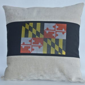Beige Pillow with Black MD Flag Band