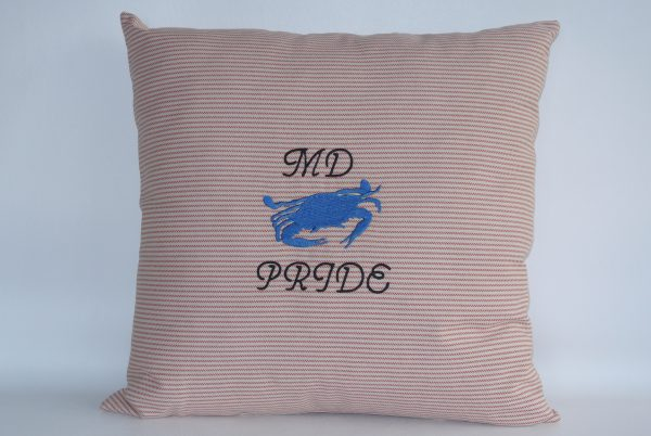 Embroidered MD Pride Blue Crab Pillow