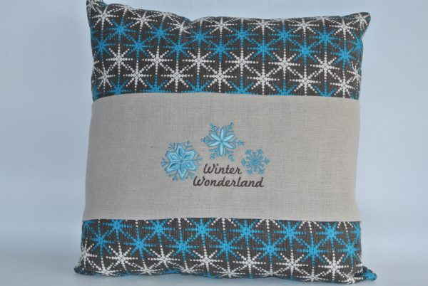 Blue & White Snowflake Pillow with Winter Wonderland Band