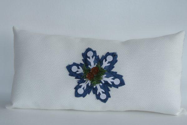 Cream Snowflake Appliqué Pillow