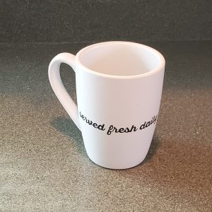 served fresh daily 12 oz coffee mug