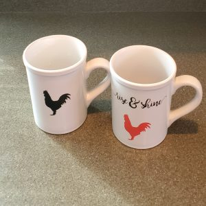 rise shine rooster 16 oz coffee mugs